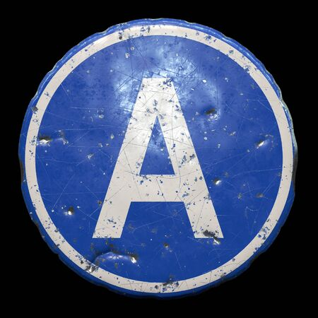 Public road sign in blue color with a capitol white letter A in the center isolated black