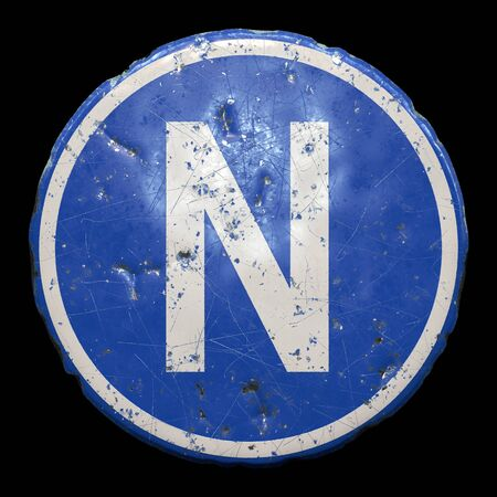 Public road sign in blue color with a capitol white letter N in the center isolated black