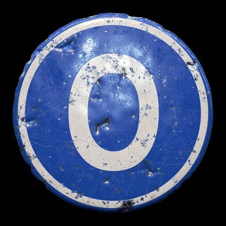 Public road sign in blue color with a capitol white letter O in the center isolated black