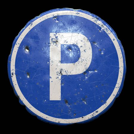 Public road sign in blue color with a capitol white letter P in the center isolated black