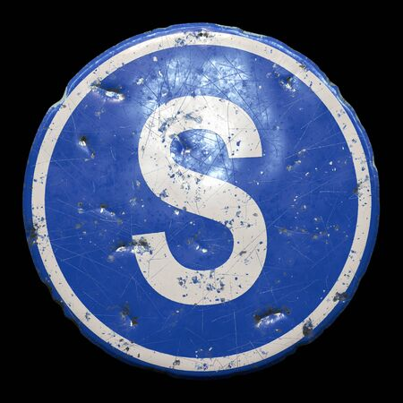 Public road sign in blue color with a capitol white letter S in the center isolated black