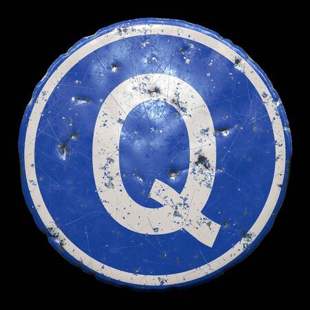 Public road sign in blue color with a capitol white letter Q in the center isolated black