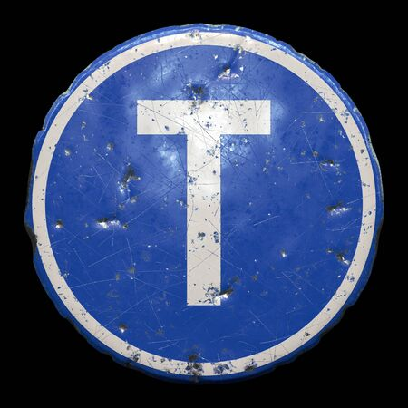 Public road sign in blue color with a capitol white letter T in the center isolated black