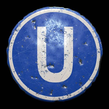 Public road sign in blue color with a capitol white letter U in the center isolated black