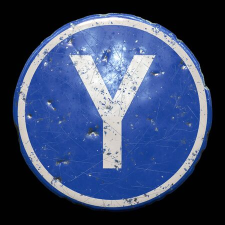 Public road sign in blue color with a capitol white letter Y in the center isolated black