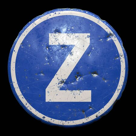 Public road sign in blue color with a capitol white letter Z in the center isolated black
