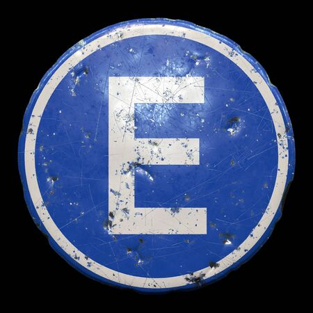 Public road sign in blue color with a capitol white letter E in the center isolated black