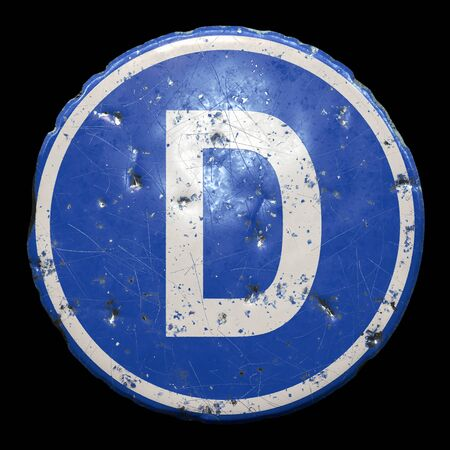 Public road sign in blue color with a capitol white letter D in the center isolated black