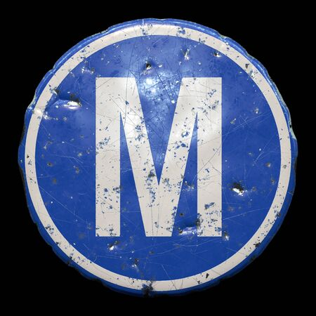 Public road sign in blue color with a capitol white letter M in the center isolated black 版權商用圖片