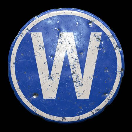 Public road sign in blue color with a capitol white letter W in the center isolated black