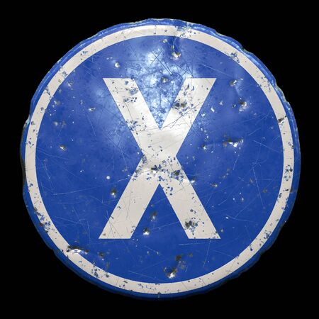 Public road sign in blue color with a capitol white letter X in the center isolated black 版權商用圖片