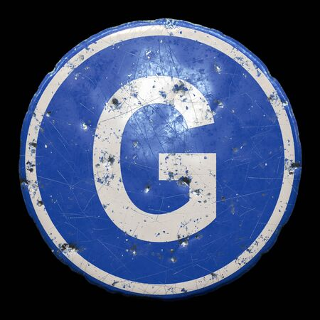 Public road sign in blue color with a capitol white letter G in the center isolated black
