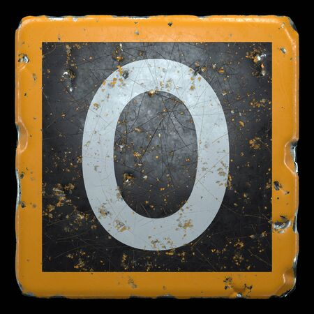 Public road sign orange and black color with a capital letter O in the center isolated on black background. 3d rendering