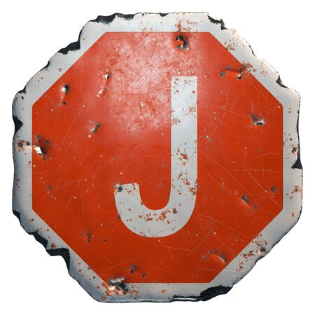 Public road sign in red and white with a capital letter J in the center isolated on white background. 3d rendering