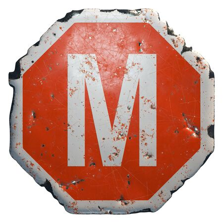 Public road sign in red and white with a capital letter M in the center isolated on white background. 3d rendering