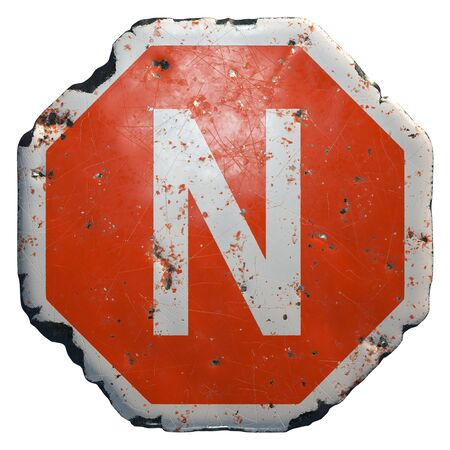 Public road sign in red and white with a capital letter N in the center isolated on white background. 3d rendering