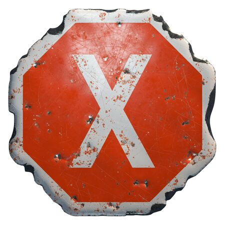 Public road sign in red and white with a capital letter X in the center isolated on white background. 3d rendering