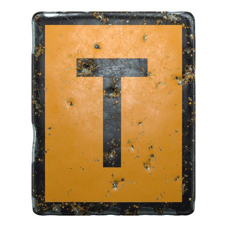 Public road sign orange and black color with a capital letter T in the center isolated on white background. 3d rendering