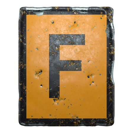 Public road sign orange and black color with a capital letter F in the center isolated on white background. 3d rendering