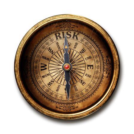 Vintage mosiężny kompas na białym tle na czarnym tle renderowania 3d