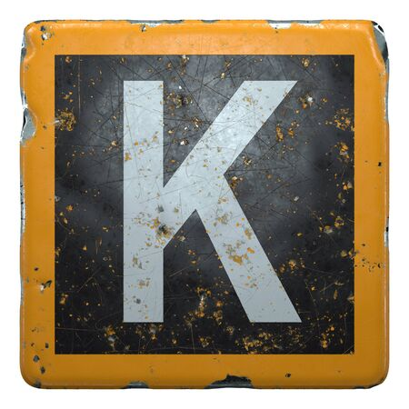 Public road sign orange and black color with a white capital letter K in the center isolated background. 3d rendering