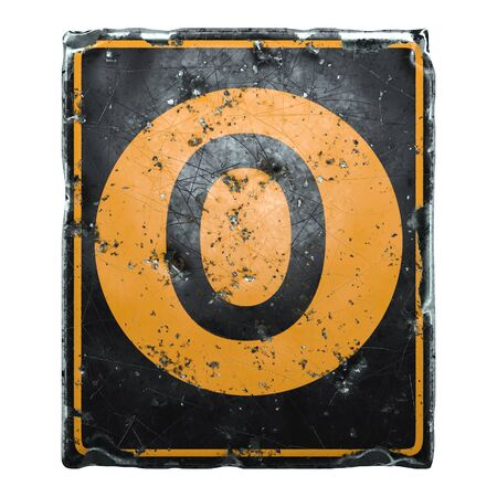 Public road sign orange and black color with a capital letter O in the center isolated on white background. 3d rendering