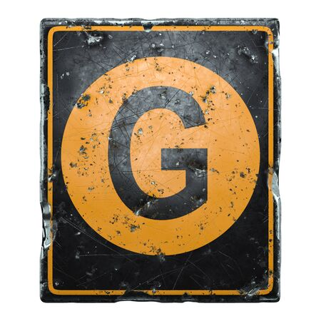 Public road sign orange and black color with a capital letter G in the center isolated on white background. 3d rendering Stock fotó