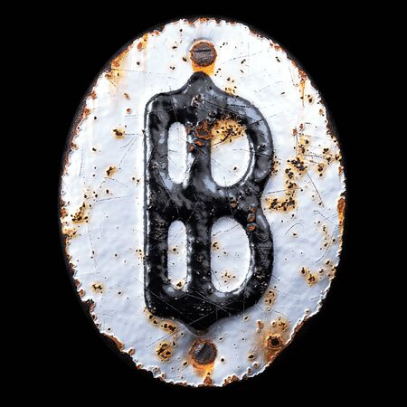 3D render symbol bitcoin made of forged metal on the background fragment of a metal surface with cracked rust. 3d rendering Фото со стока