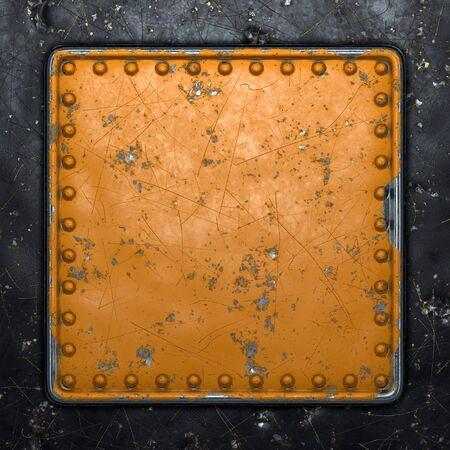 Rust metal with rivets in the shape of a square in the center on black metal background. 3d rendering 스톡 콘텐츠