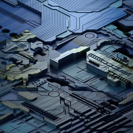 Circuit board futuristic server code processing. Blue technology background. 3d rendering abctract circuit board.