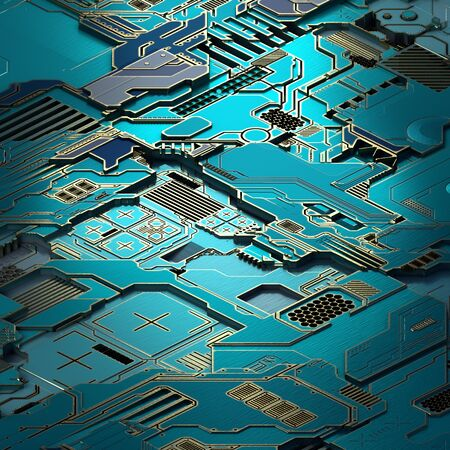 Circuit board futuristic server code processing. Turquoise technology background. 3d rendering abctract circuit board. Reklamní fotografie