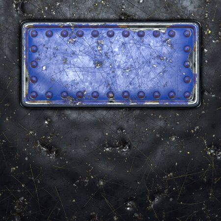 Strip of metal with rivets painted blue in the shape of a rectangle in the center on black metal background 3d rendering