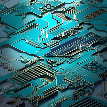 Circuit board futuristic server code processing. Turquoise technology background. 3d rendering abctract circuit board.