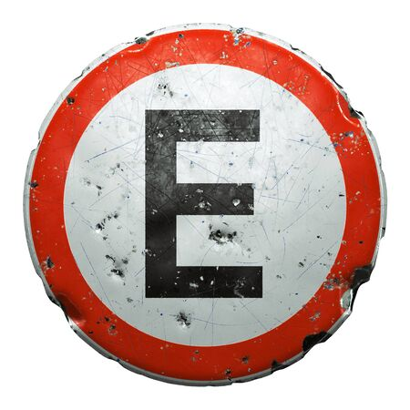 Public road sign in red and white with a capitol letter E in the center isolated on white background. 3d rendering