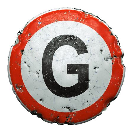 Public road sign in red and white with a capitol letter G in the center isolated on white background. 3d rendering