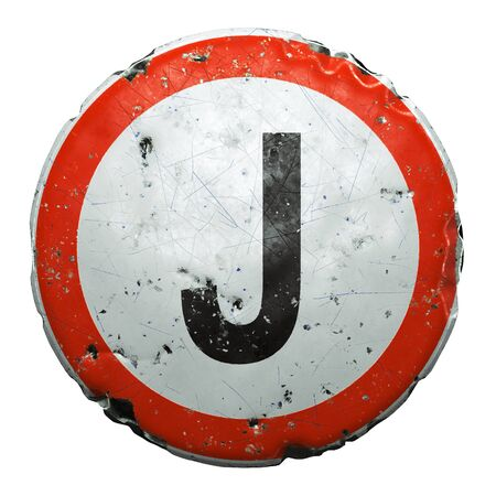 Public road sign in red and white with a capitol letter J in the center isolated on white background. 3d rendering Stock fotó