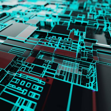 Circuit board futuristic server code processing. Neon color technology background. 3d rendering abctract circuit board. Banco de Imagens