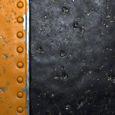 Rusty metal strip with rivets on the left against on black metal background 3d rendering