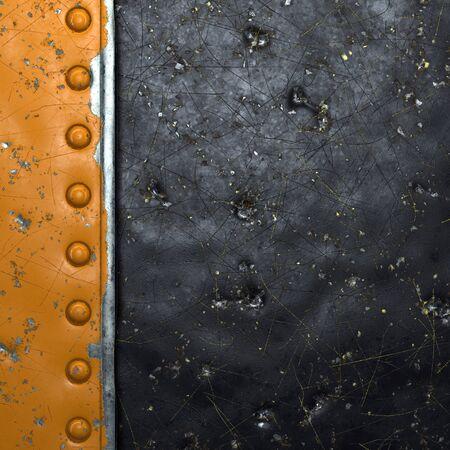 Tira de metal oxidado con remaches a la izquierda contra la representación 3d de fondo de metal negro