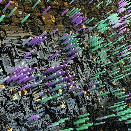 Circuit board futuristic server code processing. Multicolor technology background. 3d rendering abctract circuit board. Archivio Fotografico