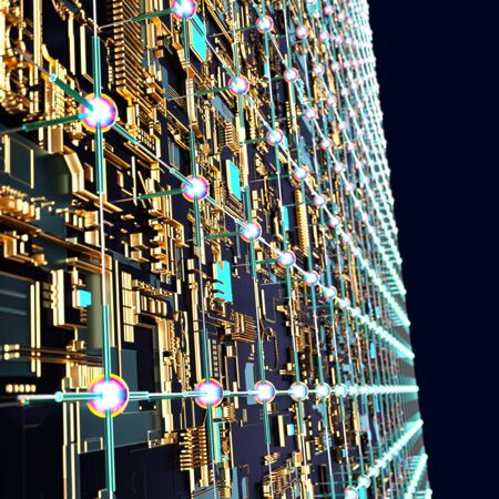 Circuit board futuristic server code processing. Angled view multicolor technology black background. 3d rendering abstract circuit board Reklamní fotografie
