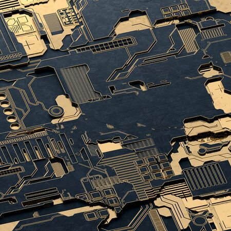 Circuit board futuristic server code processing. Gold and black technology background. 3d rendering abctract circuit board. Archivio Fotografico