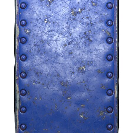 Strip of metal with rivets painted blue in the shape of a rectangle on white background 3d rendering