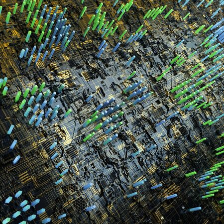 Circuit board futuristic server code processing. Multicolor technology background. 3d rendering abctract circuit board.
