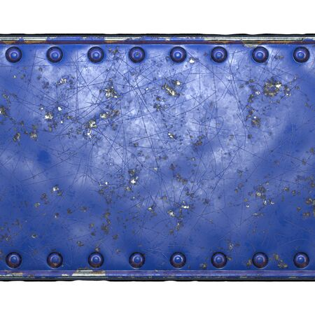 Strip of metal with rivets painted blue in the shape of a rectangle in the center on white background 3d rendering Banco de Imagens