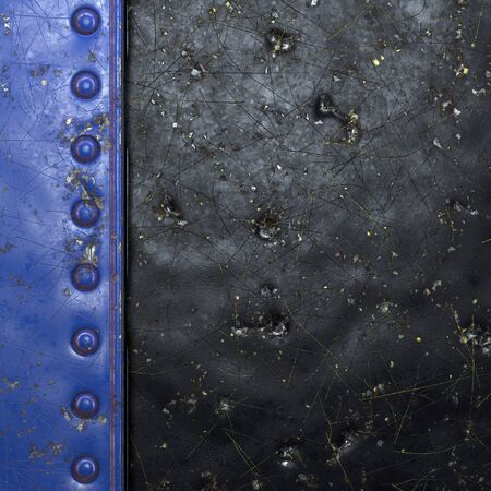 Painted blue metal with rivets on black metal background. 3d rendering