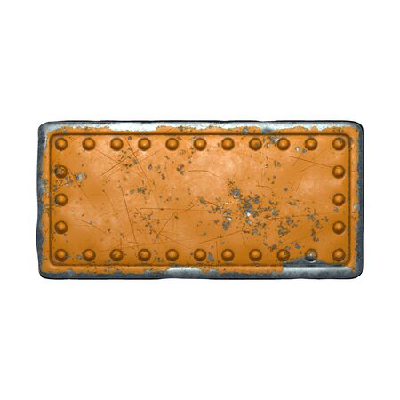 Rusty metal strip with rivets on the center against on white background 3d rendering Banco de Imagens