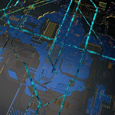 Circuit board futuristic server code processing. Angled view blue color technology black background. 3d rendering abstract circuit board