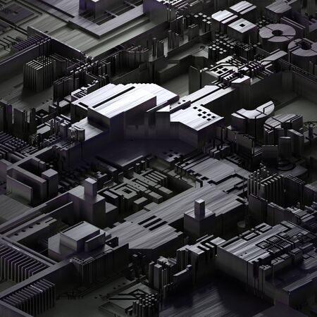 Circuit board futuristic server code processing.Gray technology background. 3d rendering abctract circuit board.