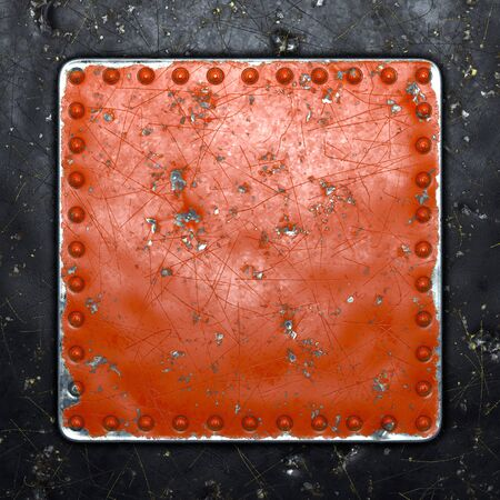 Painted red metal with rivets in the shape of a square in the center on black metal background. 3d rendering 스톡 콘텐츠
